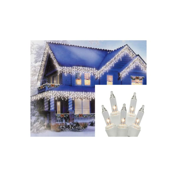 Set of 300 Shimmering Clear Mini Icicle Christmas Lights - White Wire