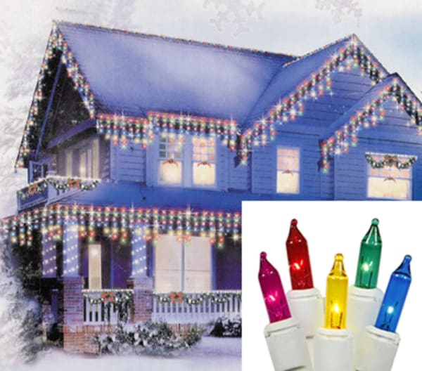 Set of 300 Shimmering Multi-Color Mini Icicle Christmas Lights - White Wire