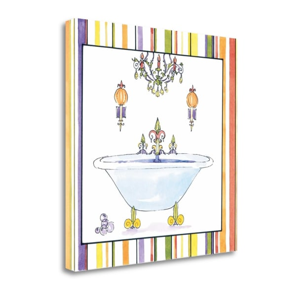 Fine Art Giclee Print on Gallery Wrap Canvas 20 In. x 20 In. Striped Bath I By Liz Jardine Multi Color