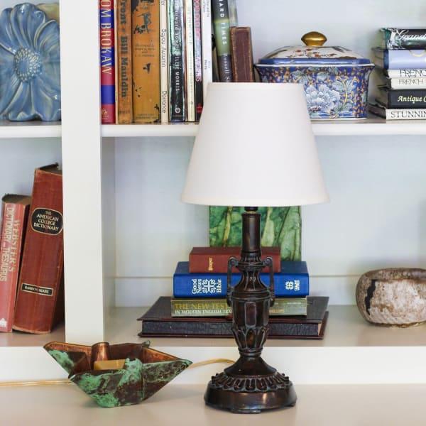 Slant Empire Hardback Lampshade with Bulb Clip, White