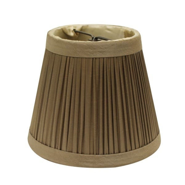 Slant Pencil Pleat Chandelier Lampshade with Bulb Clip, Ash (Set of 6)