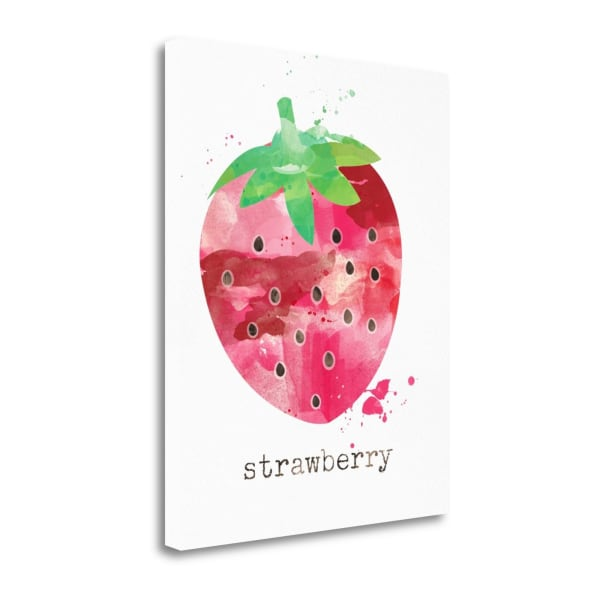 Fine Art Giclee Print on Gallery Wrap Canvas 16 In. x 20 In. Strawberry By Linda Woods Multi Color