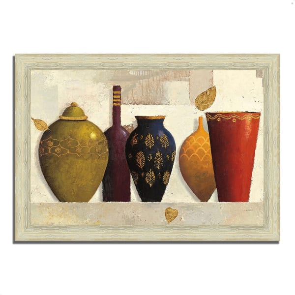 Framed Painting Print 36 In. x 26 In. Jeweled Vessels by James Wiens Multi Color