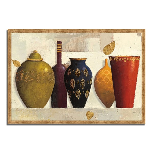 Framed Painting Print 38 In. x 26 In. Jeweled Vessels by James Wiens Multi Color
