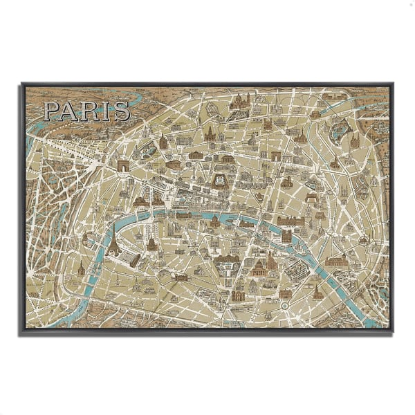 Fine Art Giclee Print on Gallery Wrap Canvas 47 In. x 32 In. Monuments of Paris Map by Wild Apple Portfolio Multi Color