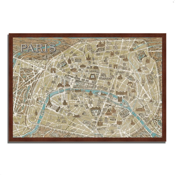 Framed Painting Print 47 In. x 32 In. Monuments of Paris Map by Wild Apple Portfolio Multi Color