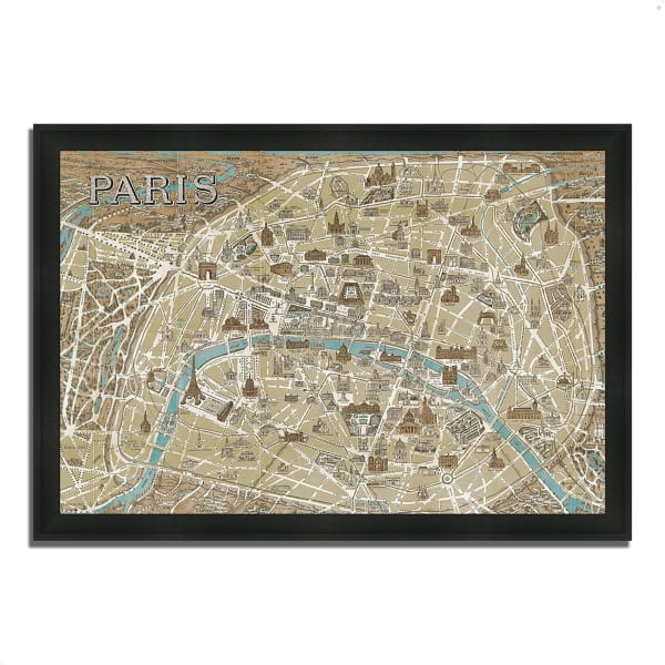 Framed Painting Print 46 In. x 33 In. Monuments of Paris Map by Wild Apple Portfolio Multi Color