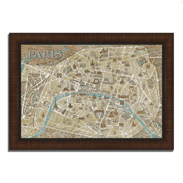 Framed Painting Print 63 In. x 44 In. Monuments of Paris Map by Wild Apple Portfolio Multi Color