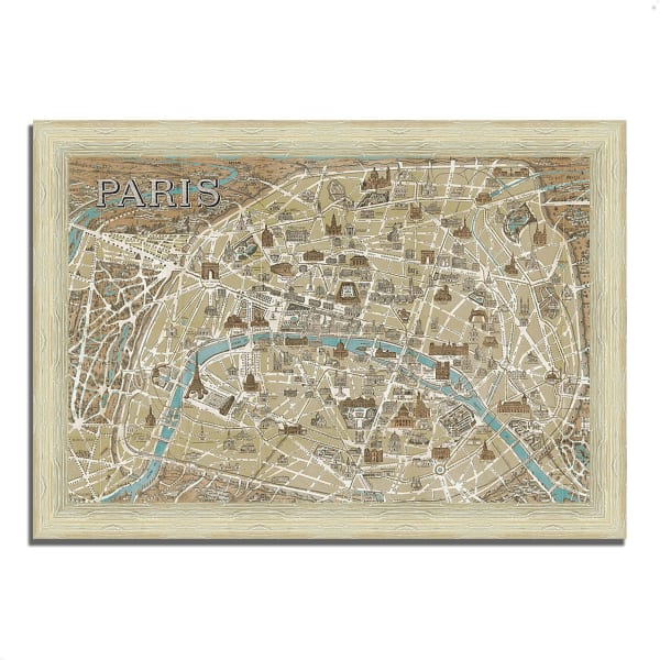 Framed Painting Print 51 In. x 36 In. Monuments of Paris Map by Wild Apple Portfolio Multi Color