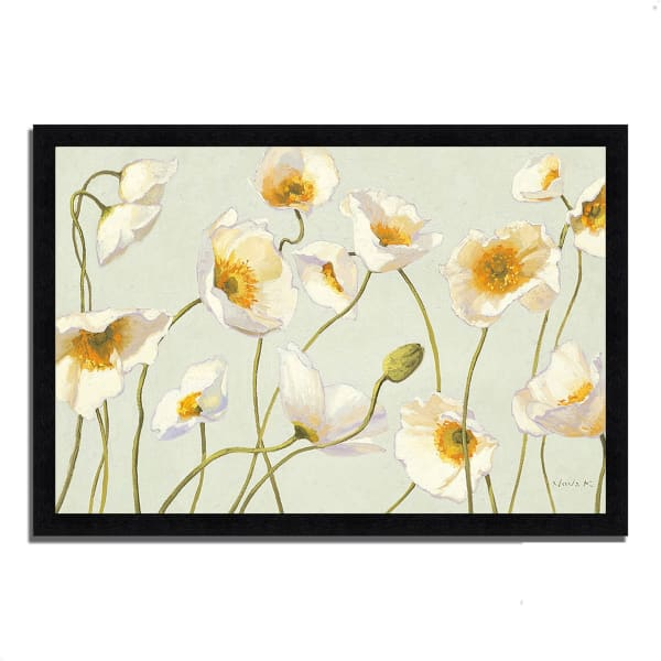 Framed Painting Print 39 In. x 27 In. White and Bright Poppies by Shirley Novak Multi Color
