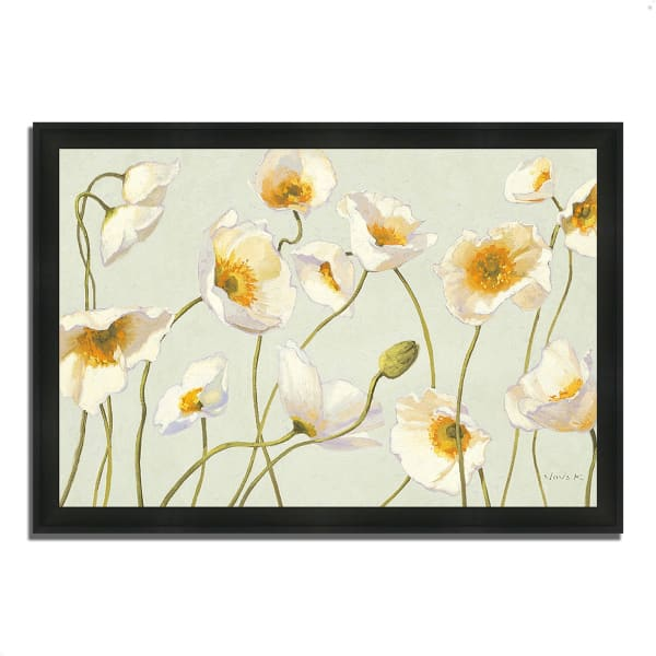 Framed Painting Print 60 In. x 41 In. White and Bright Poppies by Shirley Novak Multi Color