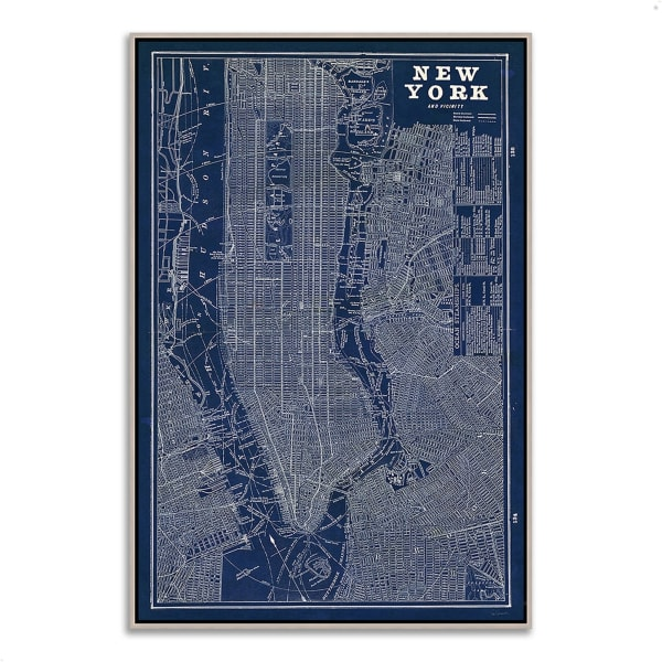 Fine Art Giclee Print on Gallery Wrap Canvas 32 In. x 47 In. Blueprint Map New York by Sue Schlabach Multi Color
