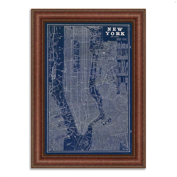 Framed Painting Print 27 In. x 37 In. Blueprint Map New York by Sue Schlabach Multi Color
