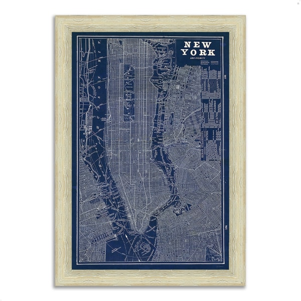 Framed Painting Print 26 In. x 36 In. Blueprint Map New York by Sue Schlabach Multi Color