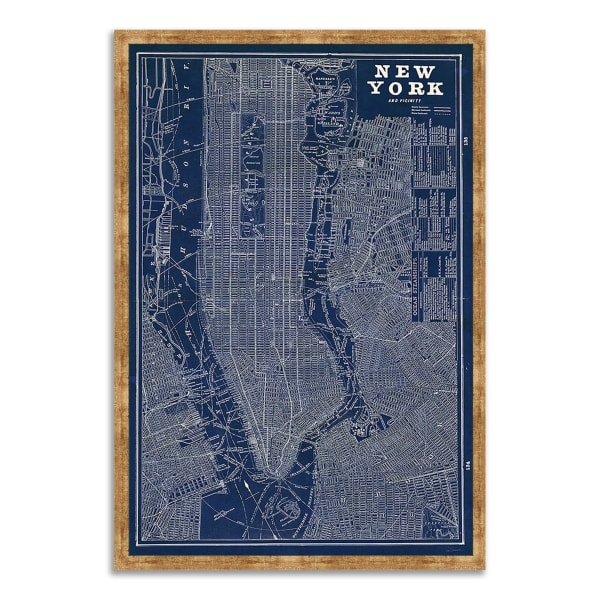 Framed Painting Print 22 In. x 32 In. Blueprint Map New York by Sue Schlabach Multi Color