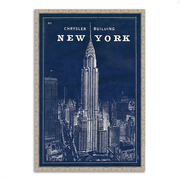 Fine Art Giclee Print on Gallery Wrap Canvas 40 In. x 59 In. Blueprint Map New York by Sue Schlabach Multi Color