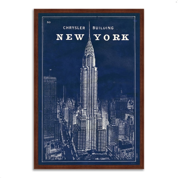 Framed Painting Print 32 In. x 47 In. Blueprint Map New York by Sue Schlabach Multi Color