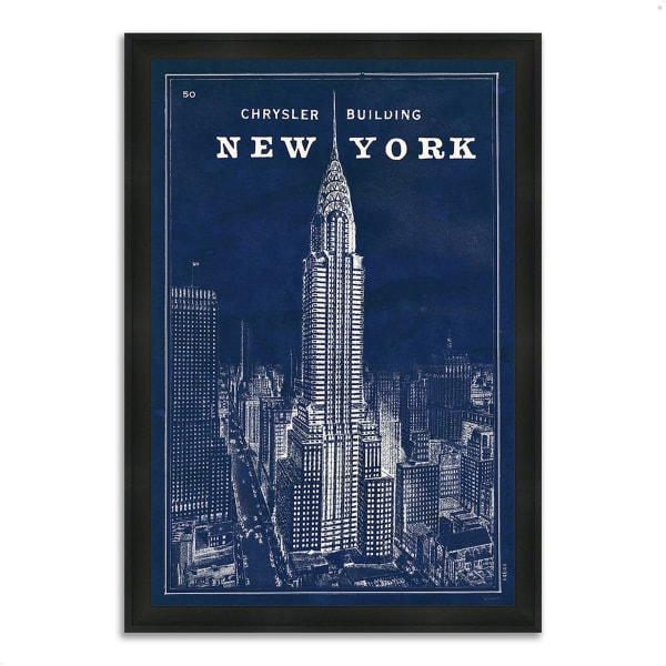 Framed Painting Print 33 In. x 46 In. Blueprint Map New York by Sue Schlabach Multi Color