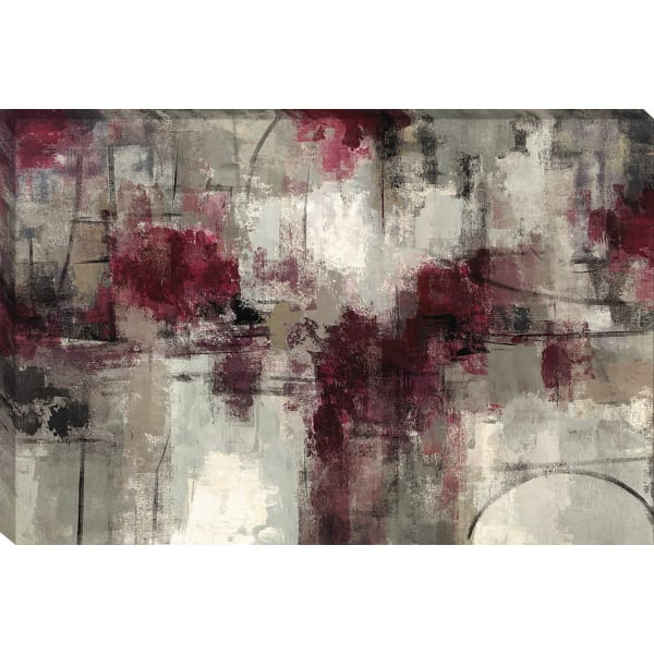 Fine Art Giclee Print on Gallery Wrap Canvas 45 In. x 30 In. Stone Gardens By Silvia Vassileva Red