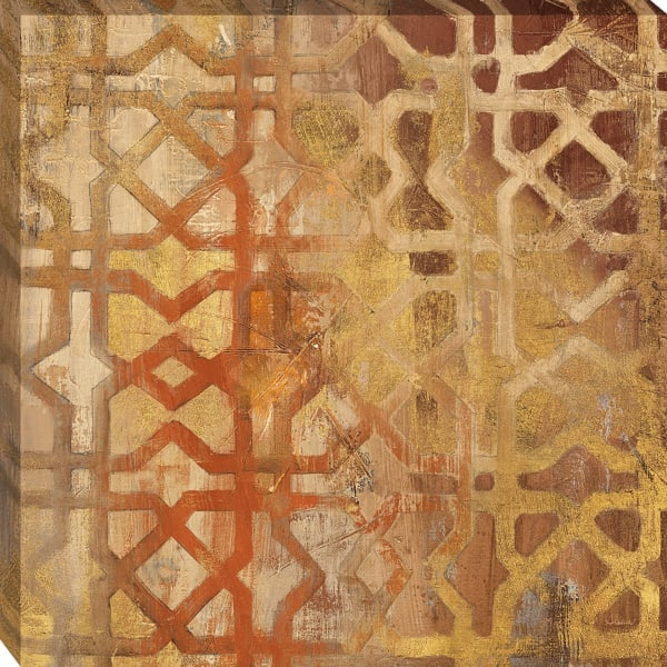 Fine Art Giclee Print on Gallery Wrap Canvas 30 In. x 30 In. Gilded Trellis I By Albena Hristova Yellow and Gold