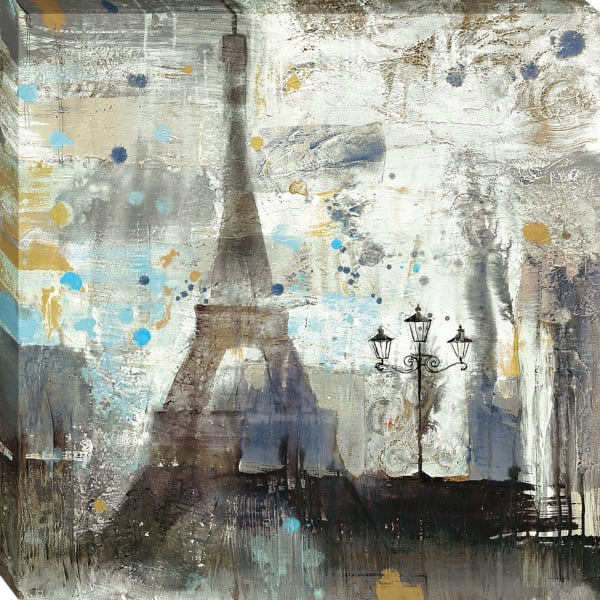 Giclee Print on Gallery Wrap Canvas 30 In. x 30 In. Eiffel Tower Neutral By Albena Hristova Black and White