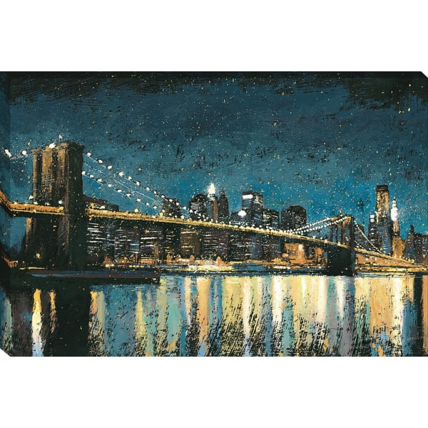 Giclee Print on Gallery Wrap Canvas 45 In. x 30 In. Bright City Lights Blue I By James Wiens Black and White