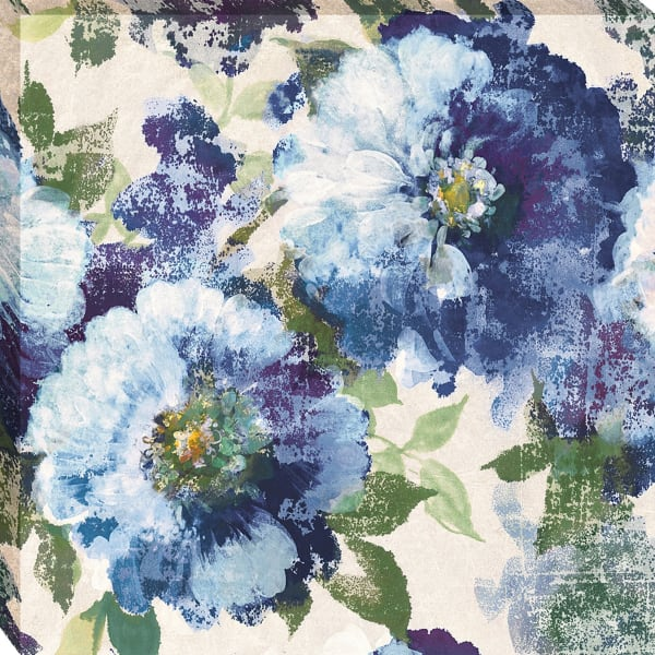 Ready to Hang 30 In. x 30 In. Indigo Floral Gallery Fine Art Giclee Print on Gallery Wrap Canvas , Multi Color