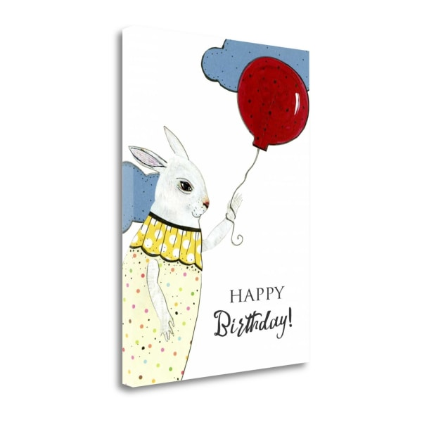 Fine Art Giclee Print on Gallery Wrap Canvas 18 In. x 25 In. Happy Birthday Card By Sarah Ogren Multi Color