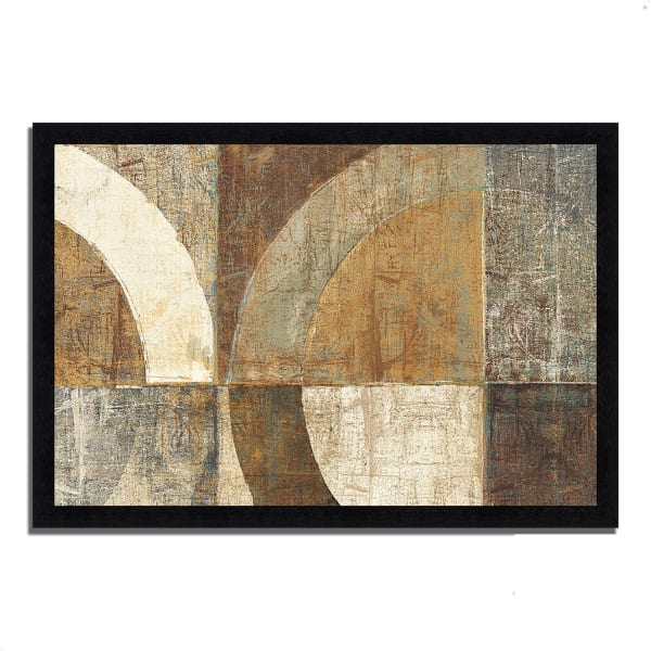Framed Painting Print 60 In. x 41 In. Circular Sculpture by Wild Apple Portfolio Multi Color