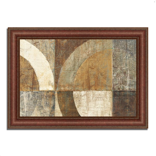 Framed Painting Print 37 In. x 27 In. Circular Sculpture by Wild Apple Portfolio Multi Color