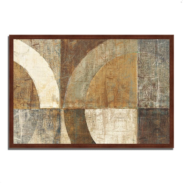 Framed Painting Print 38 In. x 26 In. Circular Sculpture by Wild Apple Portfolio Multi Color