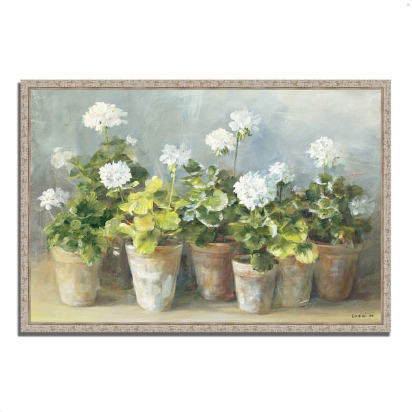 Fine Art Giclee Print on Gallery Wrap Canvas 32 In. x 22 In. White Geraniums by Danhui Nai Multi Color