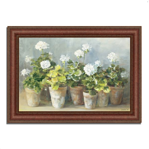 Framed Painting Print 37 In. x 27 In. White Geraniums by Danhui Nai Multi Color