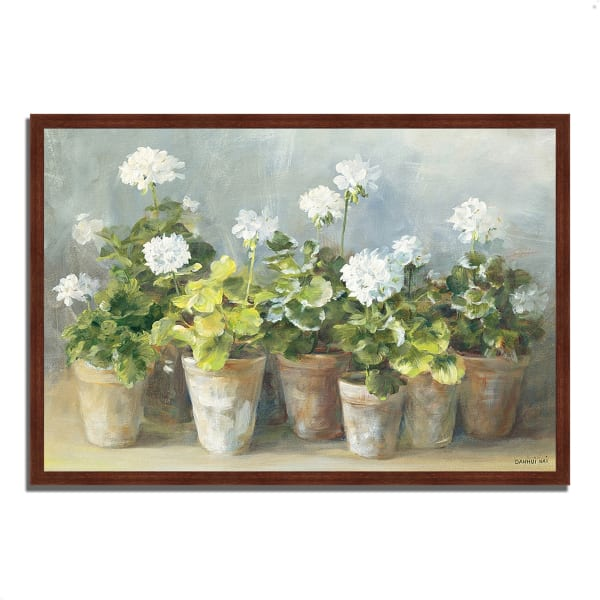 Framed Painting Print 32 In. x 22 In. White Geraniums by Danhui Nai Multi Color
