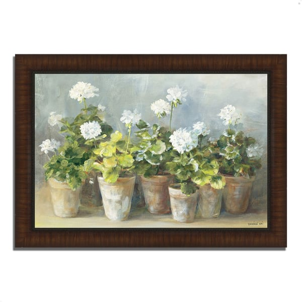 Framed Painting Print 42 In. x 30 In. White Geraniums by Danhui Nai Multi Color