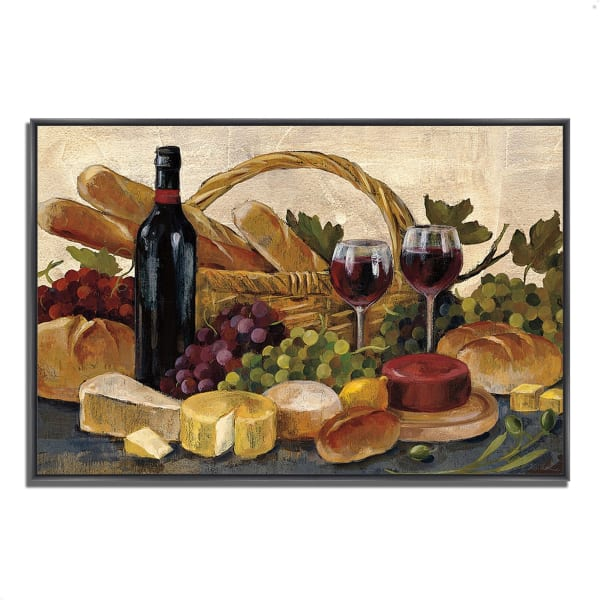 Fine Art Giclee Print on Gallery Wrap Canvas 32 In. x 22 In. Tuscan Evening Wine by Silvia Vassileva Multi Color
