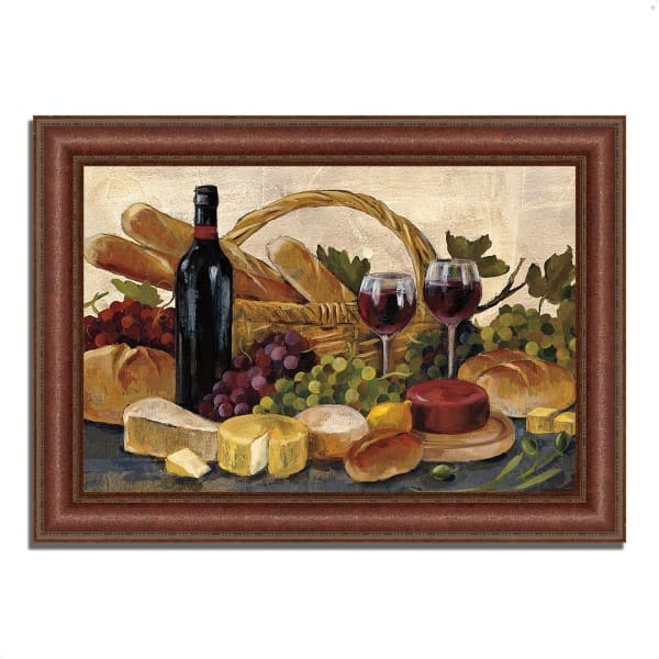 Framed Painting Print 52 In. x 37 In. Tuscan Evening Wine by Silvia Vassileva Multi Color