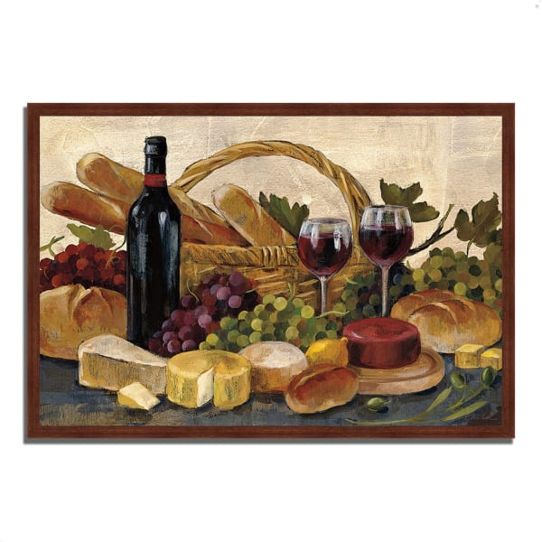 Framed Painting Print 38 In. x 26 In. Tuscan Evening Wine by Silvia Vassileva Multi Color