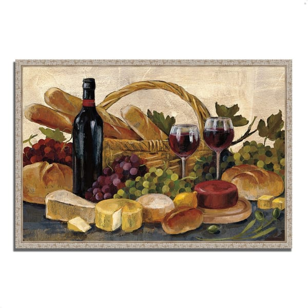 Fine Art Giclee Print on Gallery Wrap Canvas 38 In. x 26 In. Tuscan Evening Wine by Silvia Vassileva Multi Color