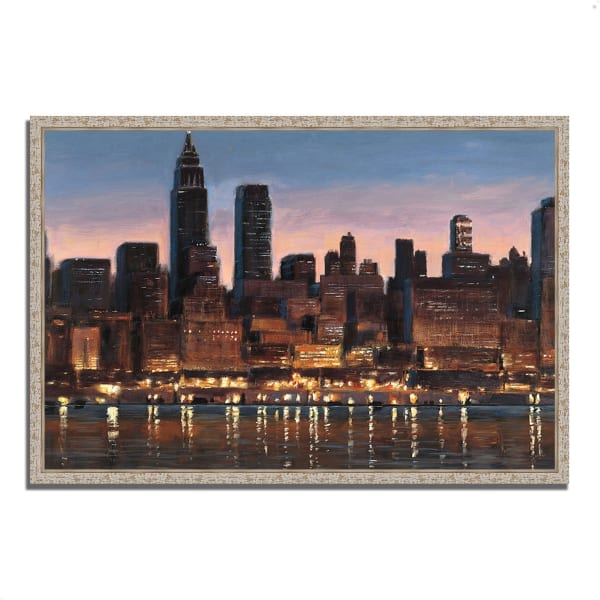 Fine Art Giclee Print on Gallery Wrap Canvas 32 In. x 22 In. Manhattan Reflection by James Wiens Multi Color