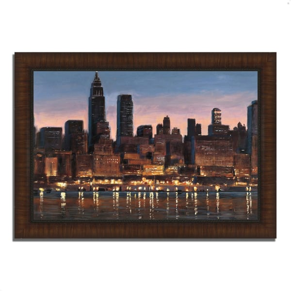 Framed Painting Print 36 In. x 26 In. Manhattan Reflection by James Wiens Multi Color