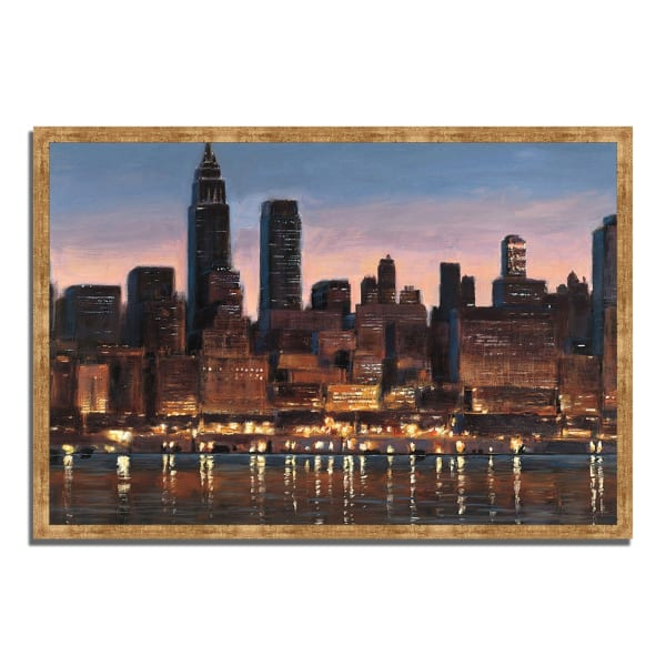 Framed Painting Print 32 In. x 22 In. Manhattan Reflection by James Wiens Multi Color