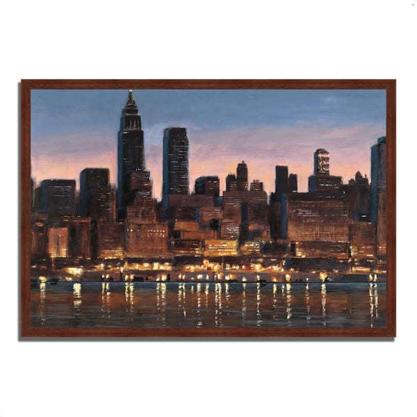 Framed Painting Print 38 In. x 26 In. Manhattan Reflection by James Wiens Multi Color