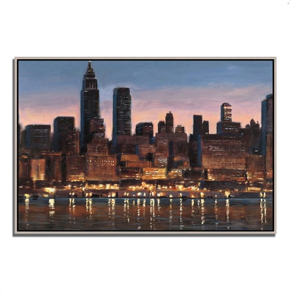 Fine Art Giclee Print on Gallery Wrap Canvas 38 In. x 26 In. Manhattan Reflection by James Wiens Multi Color