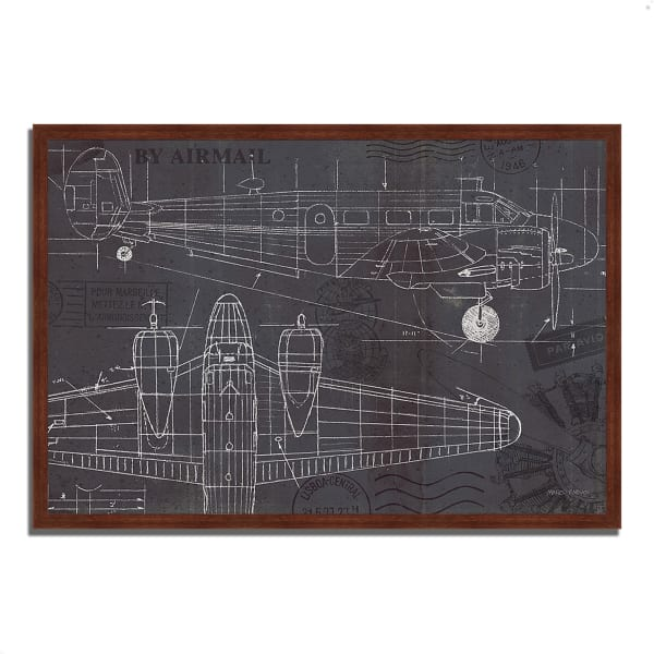 Framed Painting Print 32 In. x 22 In. Plane Blueprint I by Marco Fabiano Multi Color