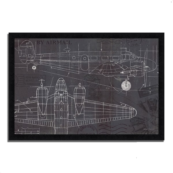 Framed Painting Print 39 In. x 27 In. Plane Blueprint I by Marco Fabiano Multi Color