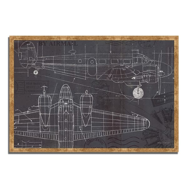 Framed Painting Print 38 In. x 26 In. Plane Blueprint I by Marco Fabiano Multi Color