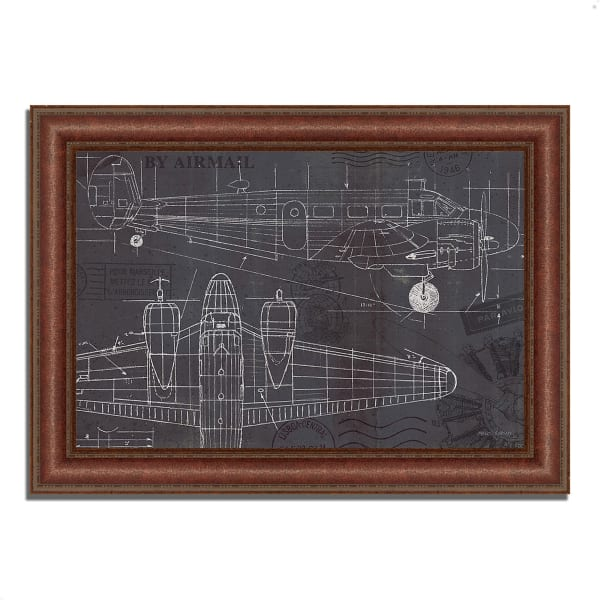 Framed Painting Print 52 In. x 37 In. Plane Blueprint I by Marco Fabiano Multi Color
