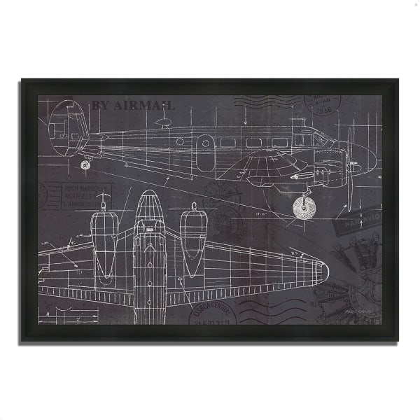 Framed Painting Print 46 In. x 33 In. Plane Blueprint I by Marco Fabiano Multi Color