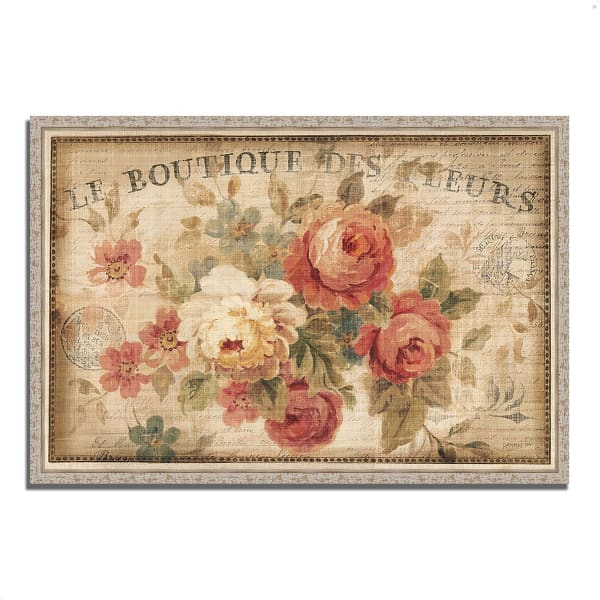 Fine Art Giclee Print on Gallery Wrap Canvas 47 In. x 32 In. Parisian Flowers III by Danhui Nai Multi Color